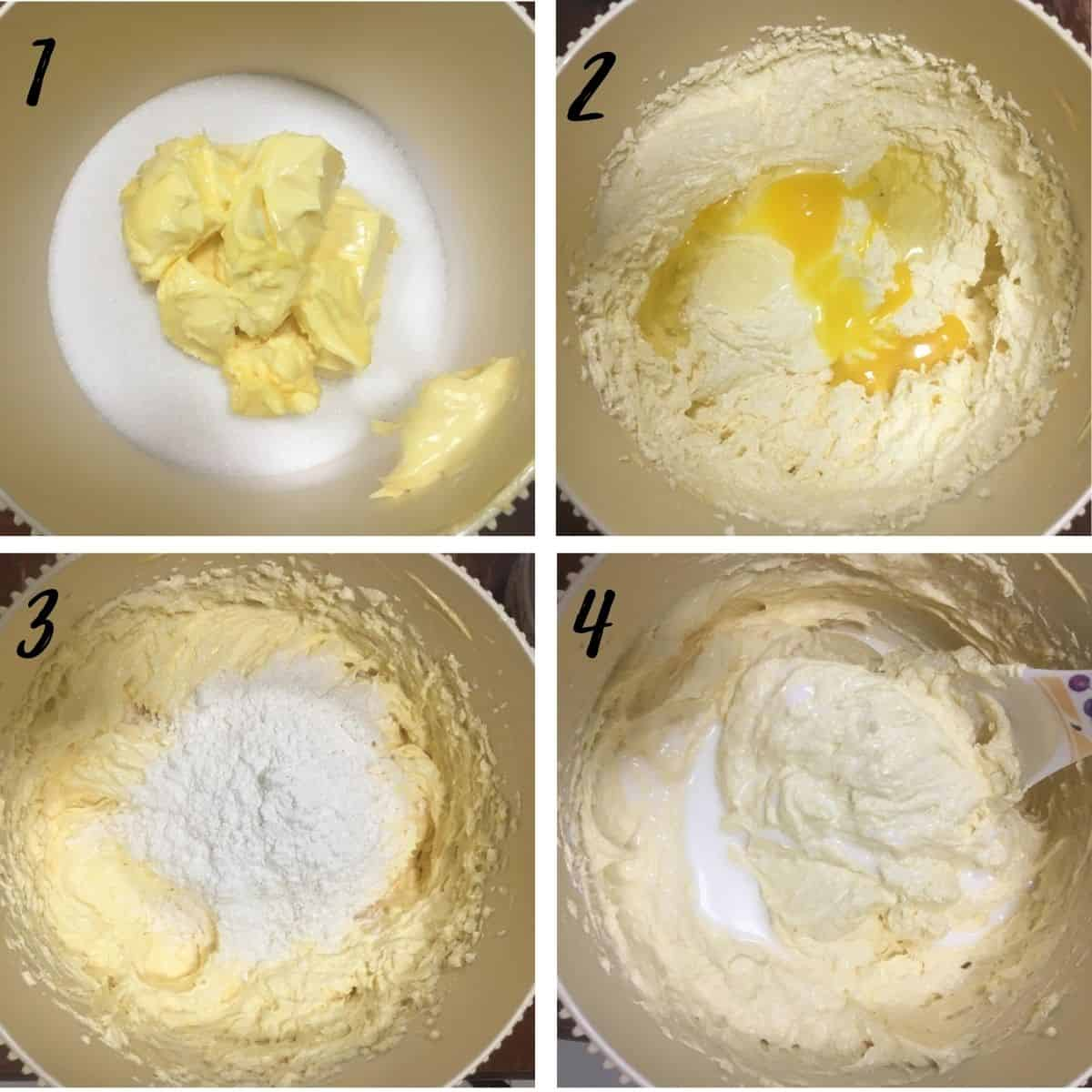 Poster of 4 images showing how to mix a cake batter
