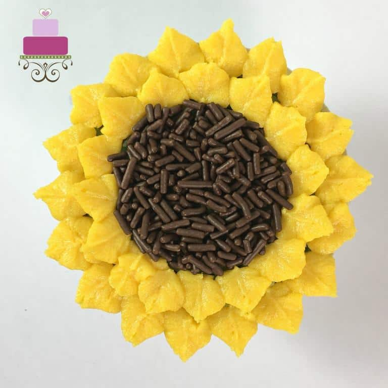 A cupcake decorated with yellow buttercream and chocolate sprinkles to look like a sunflower