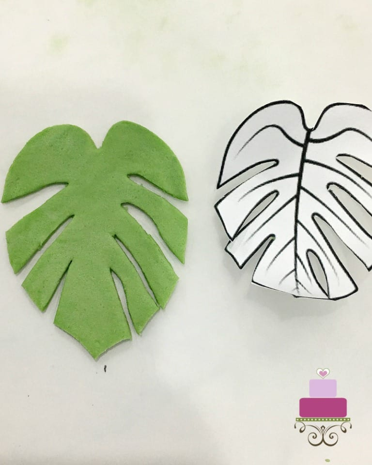 A green fondant leaf with a paper template on the side