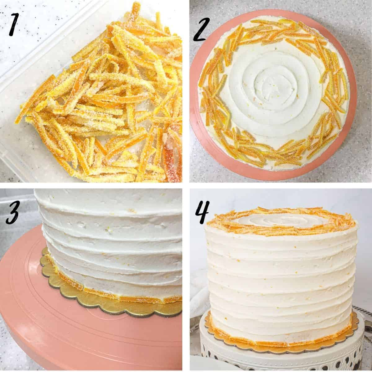 Poster showing a round cake covered in buttercream and decorated with candied orange peels