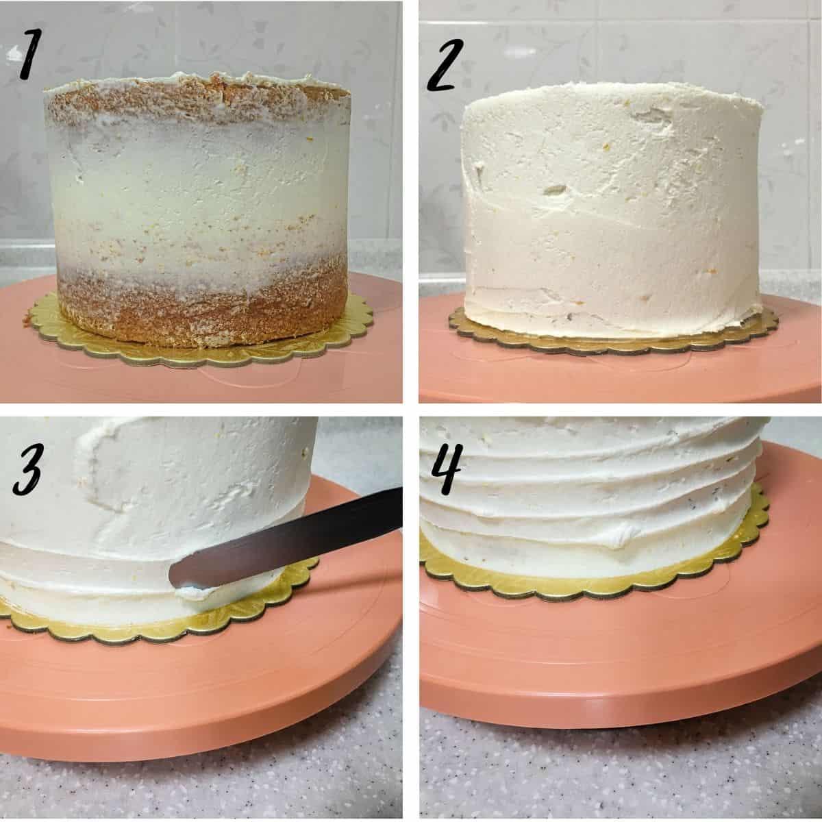 Making buttercream patterns on a buttercream cake