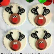 4 cupcakes with reindeer face deco