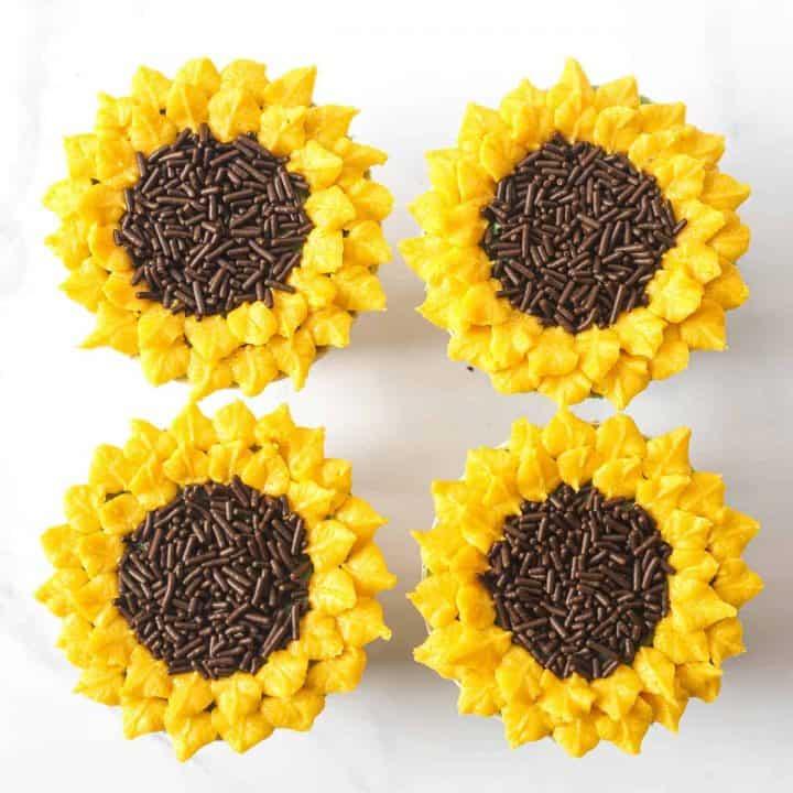4 sunflower cupcakes