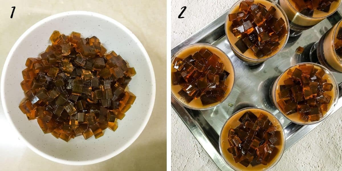 A bowl of cubed brown jelly and the mini cups of jelly with the cubed jelly pieces on top