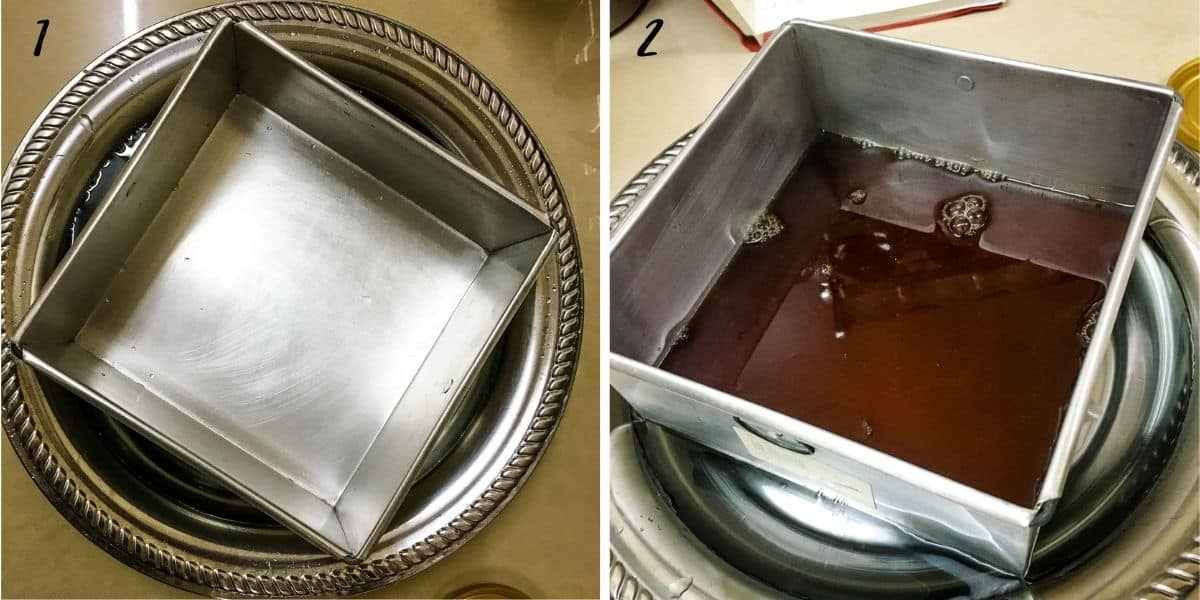An empty square tin and a square tin with jelly