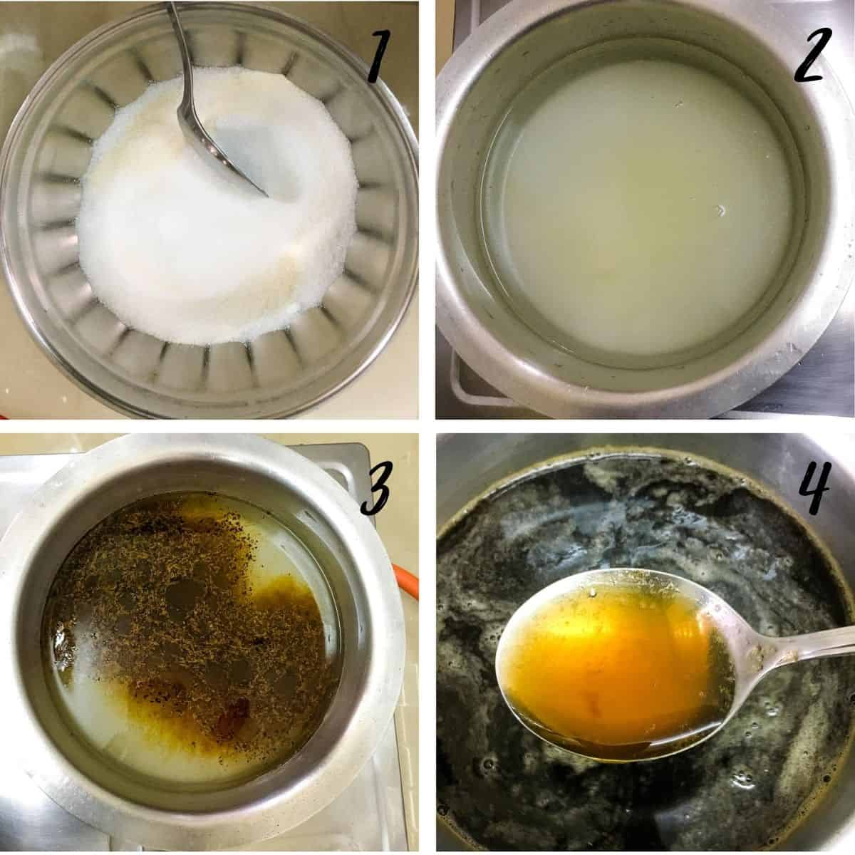 A poster of 4 images showing sugar and jelly powder in one bowl, jelly solution in a pot, coffee added to the jelly pot and a scoop of the solution in a spoon