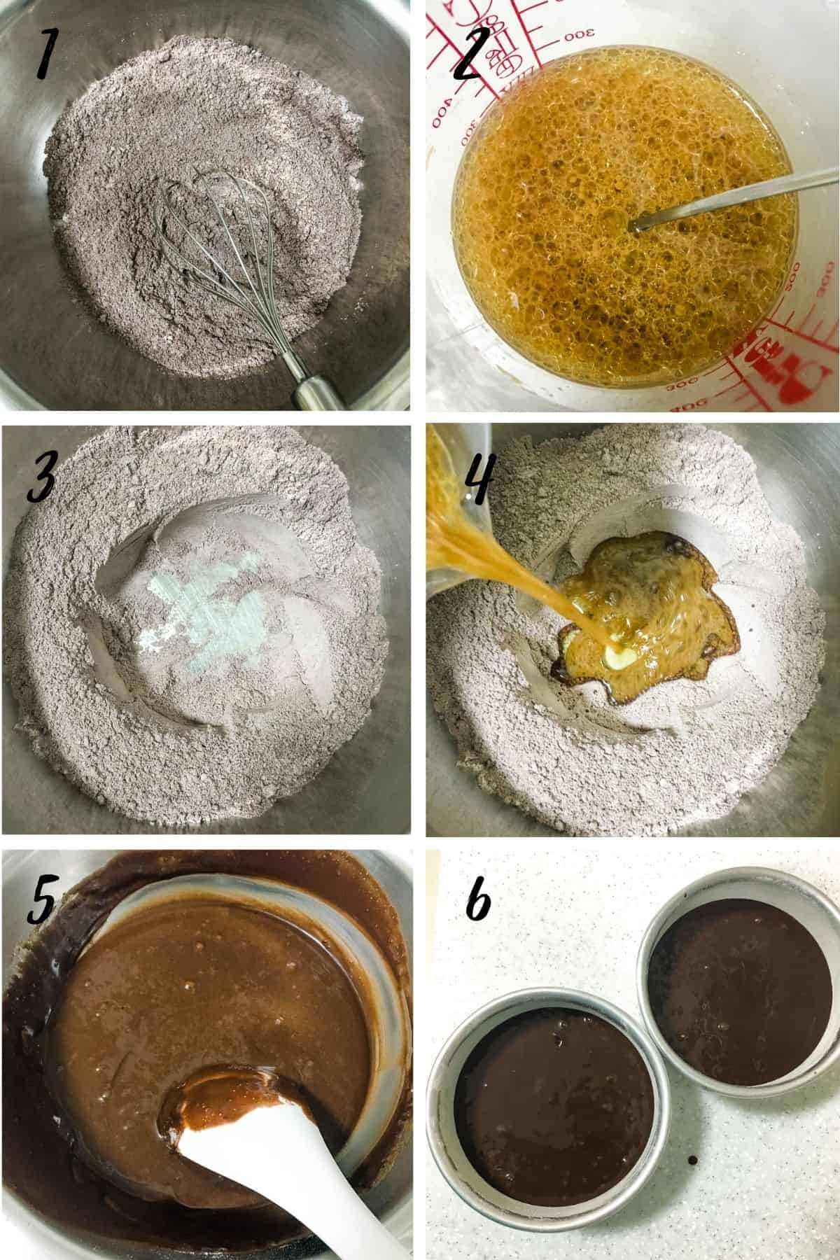 Poster with 6 images showing how to mix an eggless chocolate cake batter