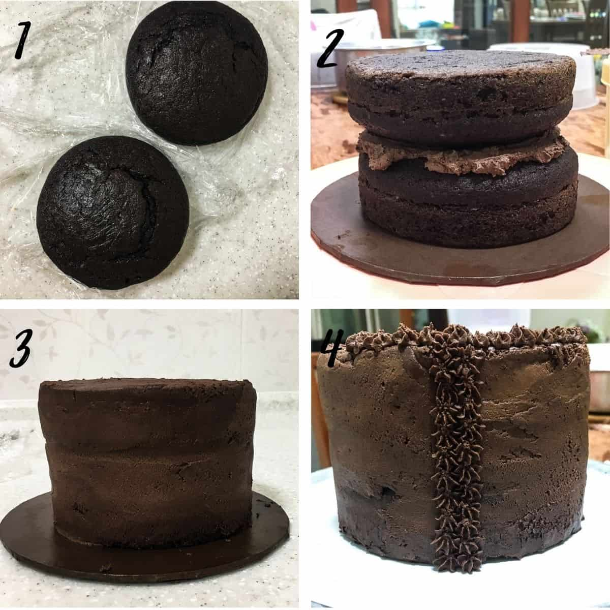 Poster with 4 images showing how to stack and cover a chocolate cake with chocolate icing in piped star design
