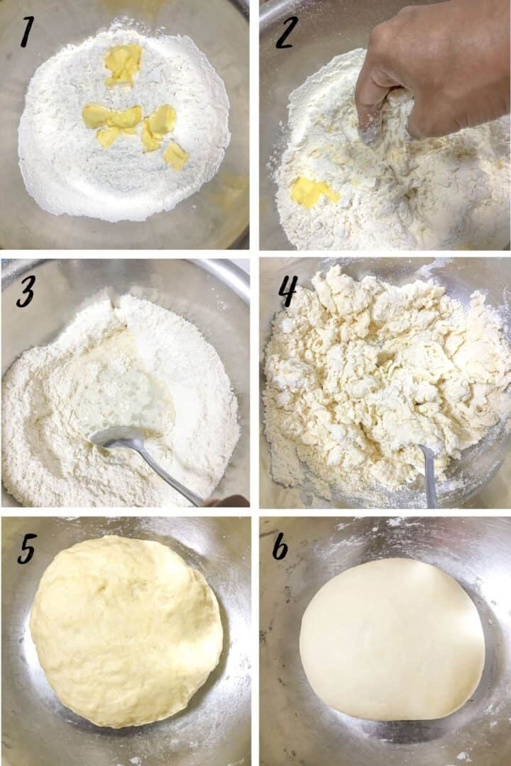 A poster of 6 images showing butter and flour in a bowl, mixing the butter and flour with fingertips, making a well in the center and filling with water, mixing the dough with spoon, and dough formed into a ball.