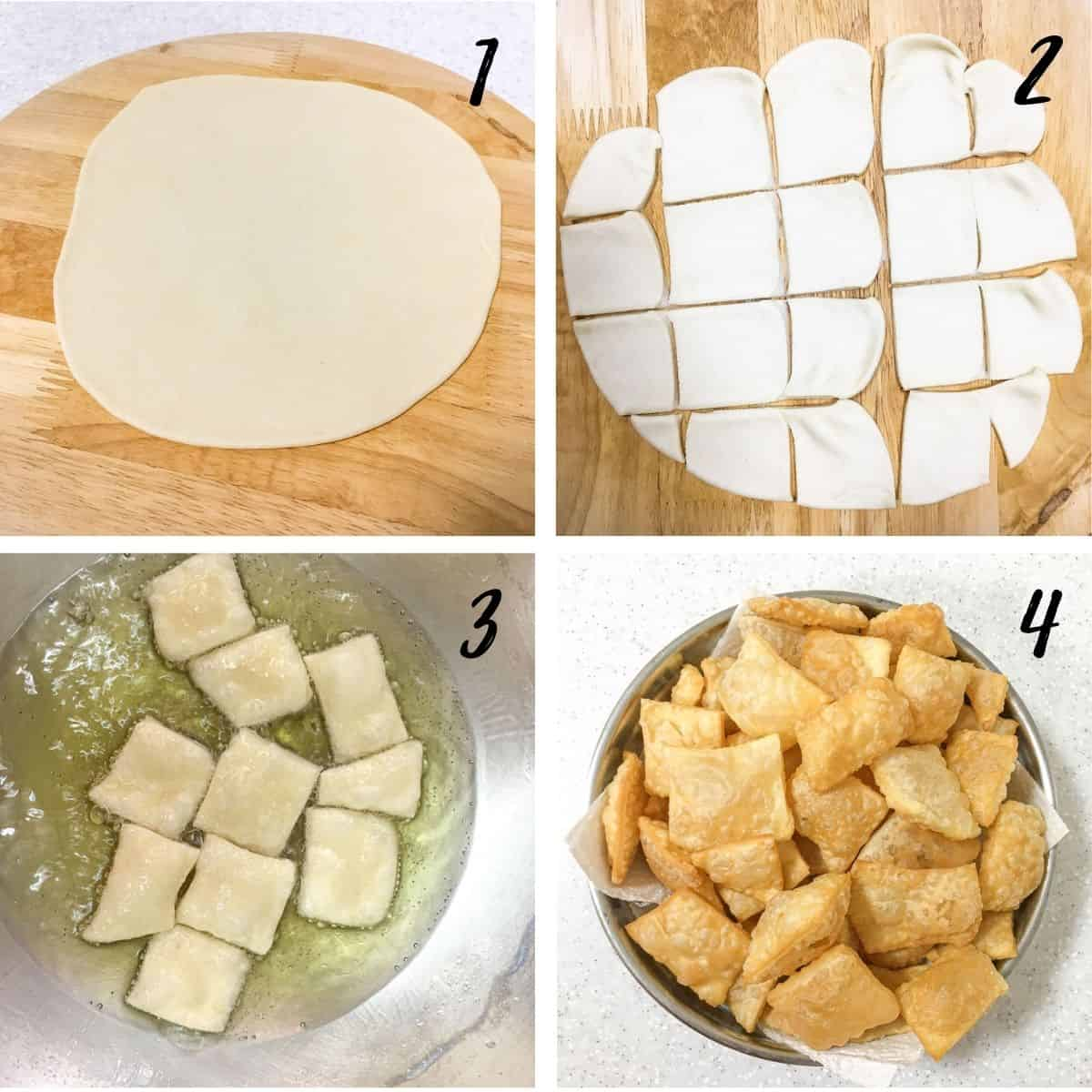 A poster of 4 images showing a piece of rolled dough, the dough cut into small pieces, the pieces of dough being deep fried and the fried dough on a bowl.