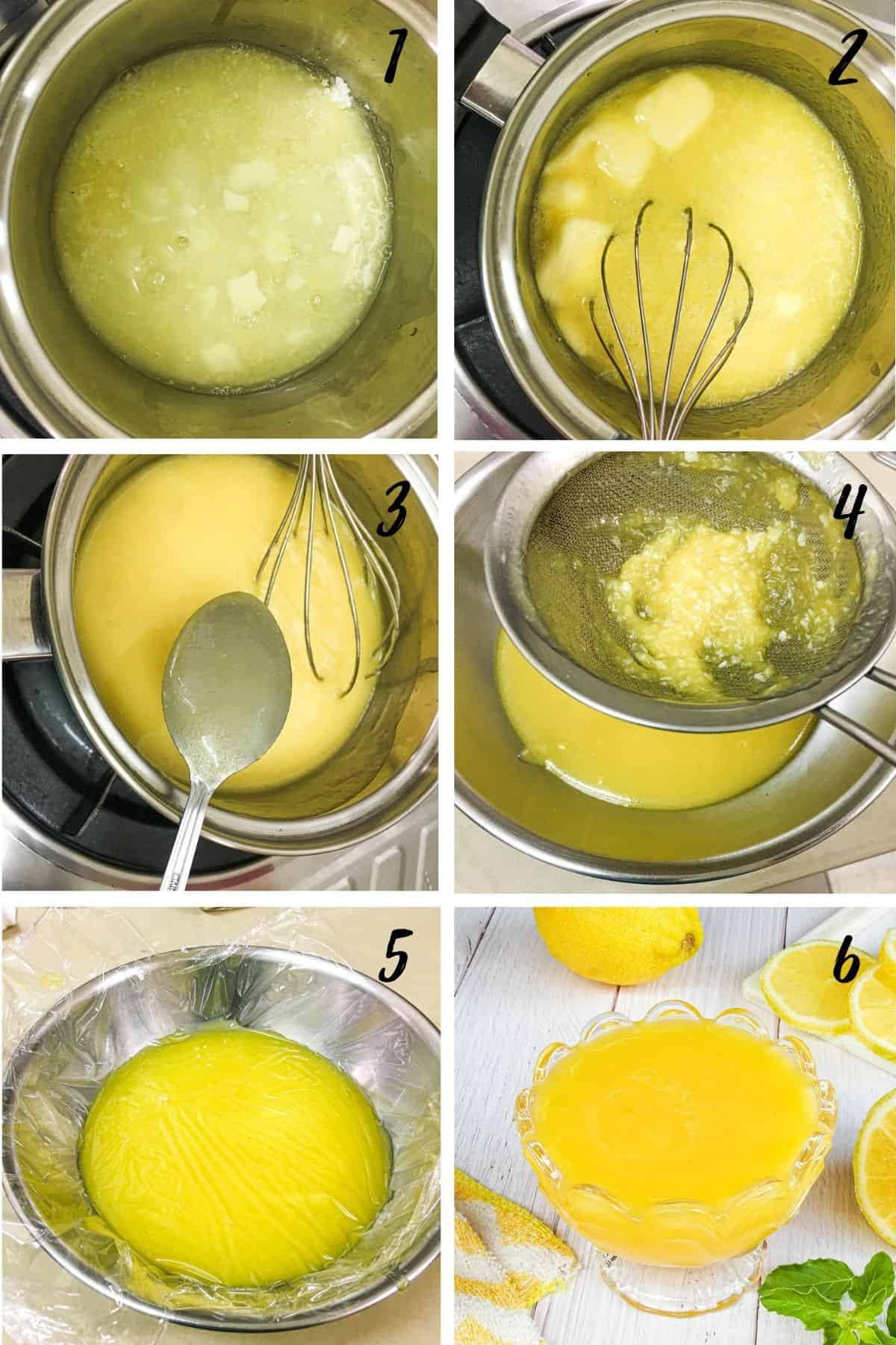 A poster of 6 images showing how to make lemon curd