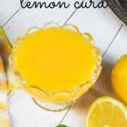 A glass bowl of lemon curd