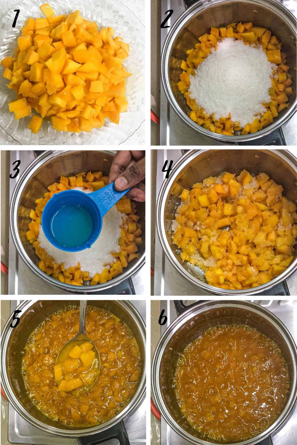A poster of 6 images show cut up mango pieces cooked with sugar and lemon juice until the jam is done.