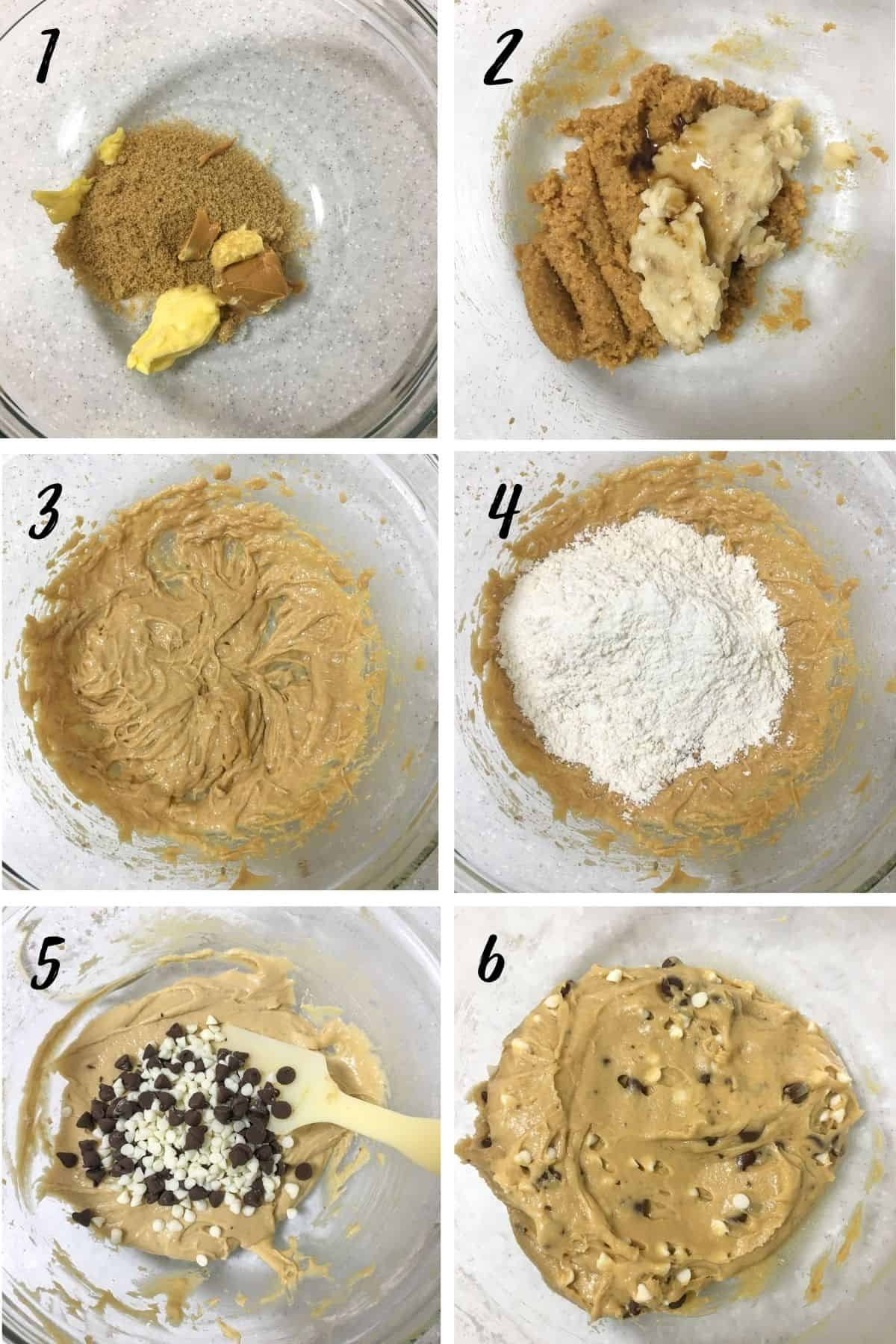 A poster of 6 images showing how to mix a peanut butter banana chocolate chip cookie dough