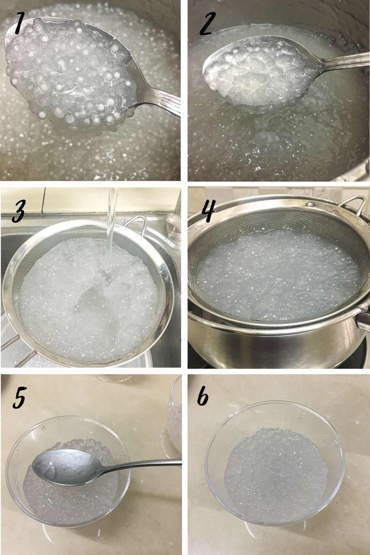 A poster of 6 images showing how to cook sago, strain it and spoon it into individual cups