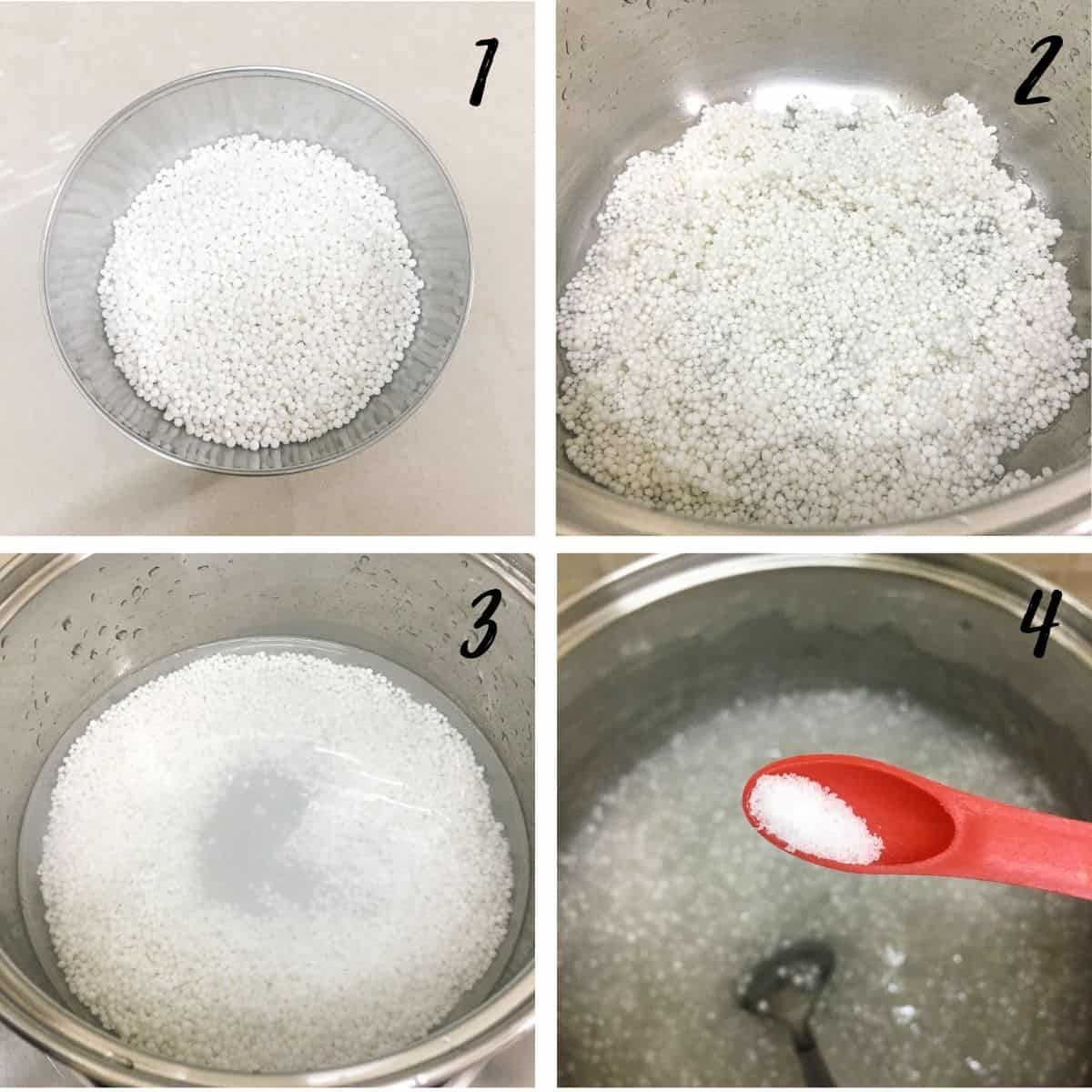 A poster of 4 images show a bowl of sago pearls, rinsed sago in a pot, sago in a pot filled with water and a spoon of salt