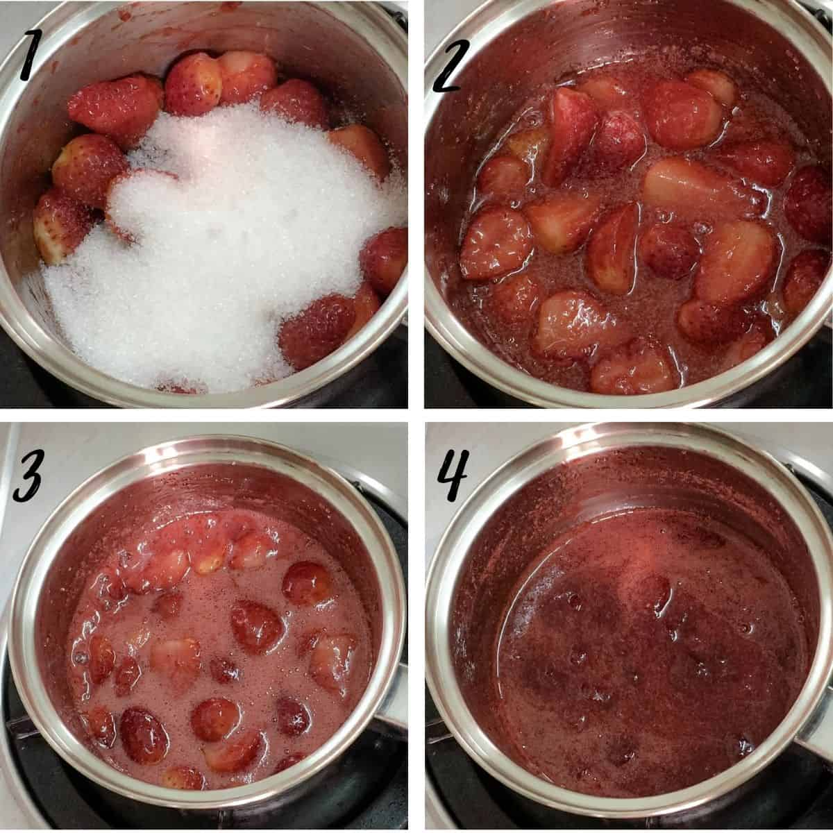A poster of 4 images show strawberries cooked with sugar to make jam