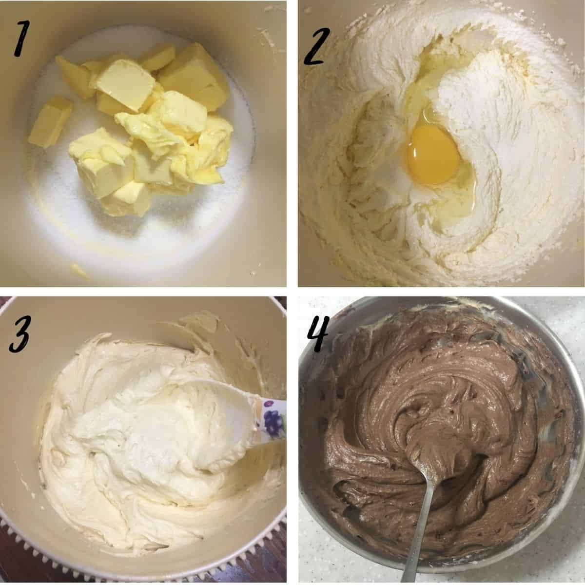 A poster of 4 images showing how mix cake batter