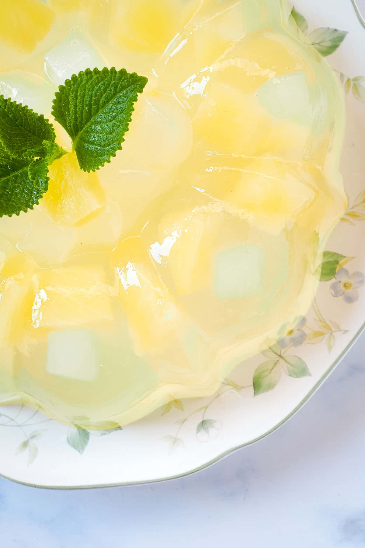 Agar fruit jelly in a bundt cake tin shape, on a floral plate