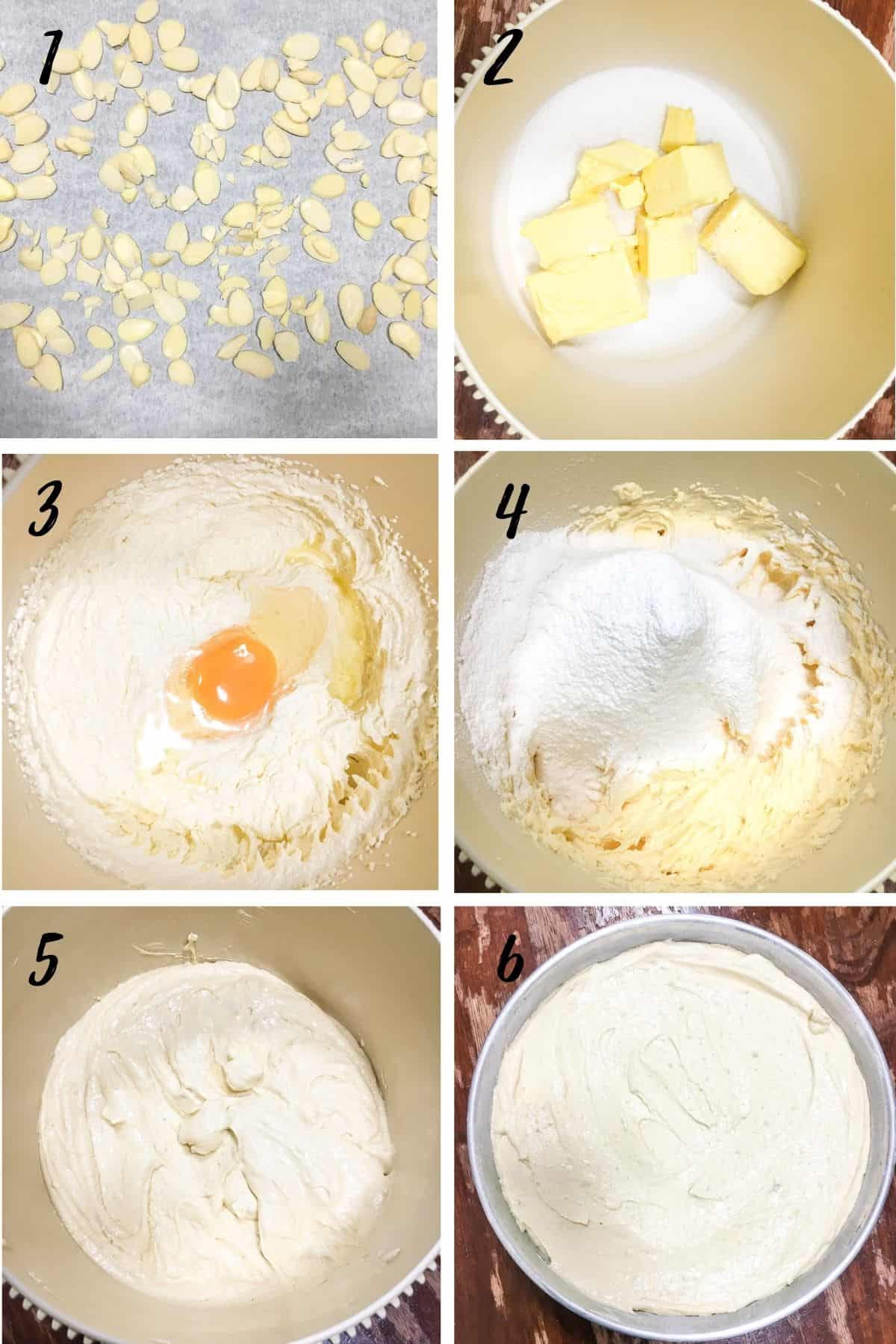 Poster with 6 images showing how to mix batter for a round cake