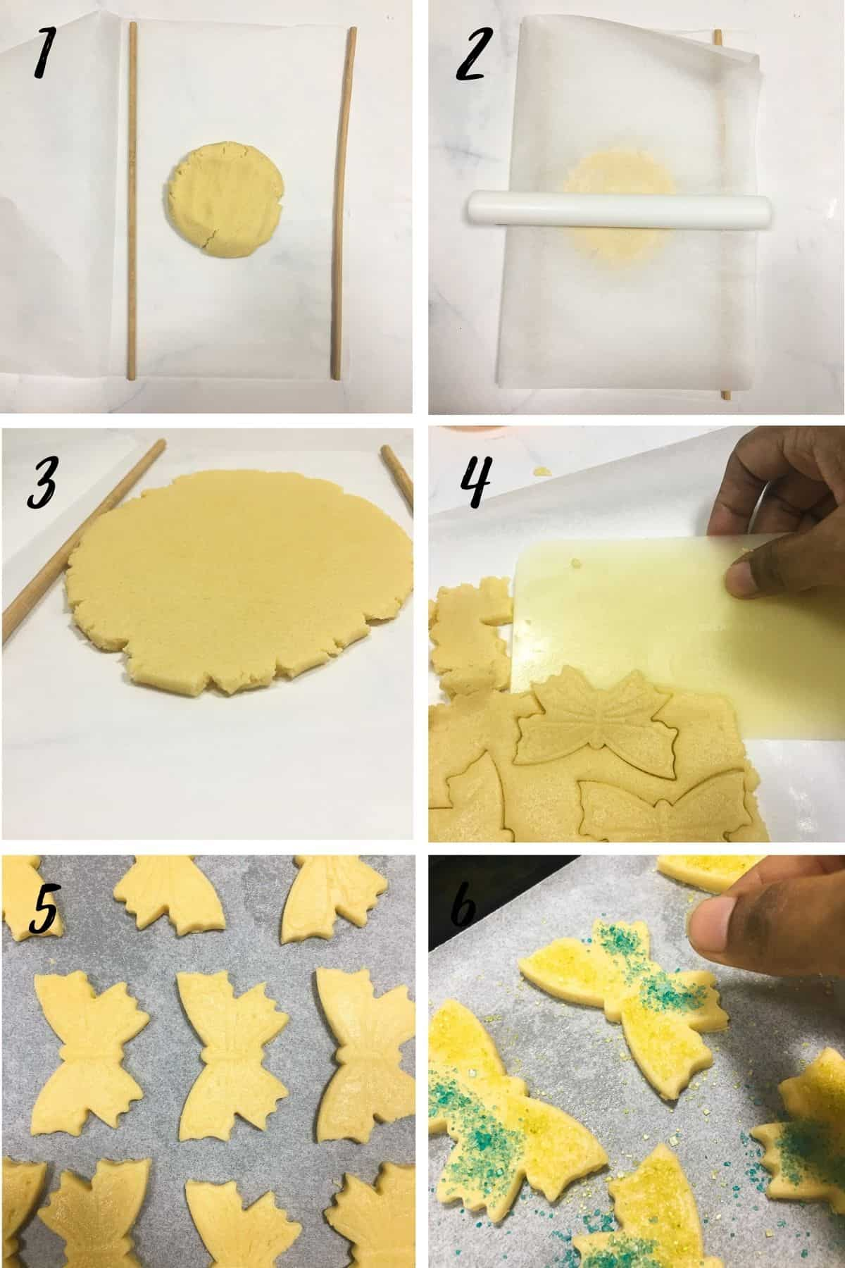A poster of 4 images showing how to roll dough between 2 parchment sheets and cutting them out with a butterfly cutter