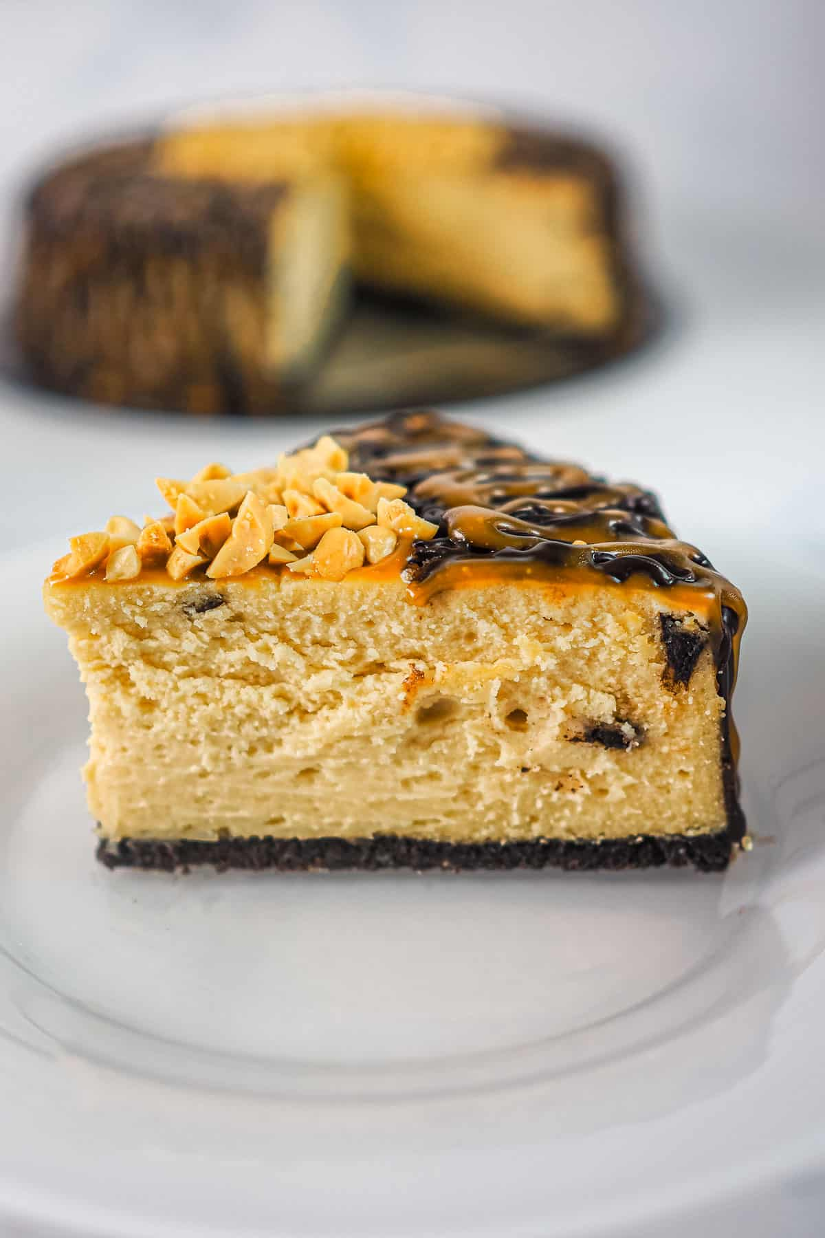 A slice of chocolate peanut butter cheesecake on a white plate