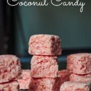 Pink coconut candy stacked on one another