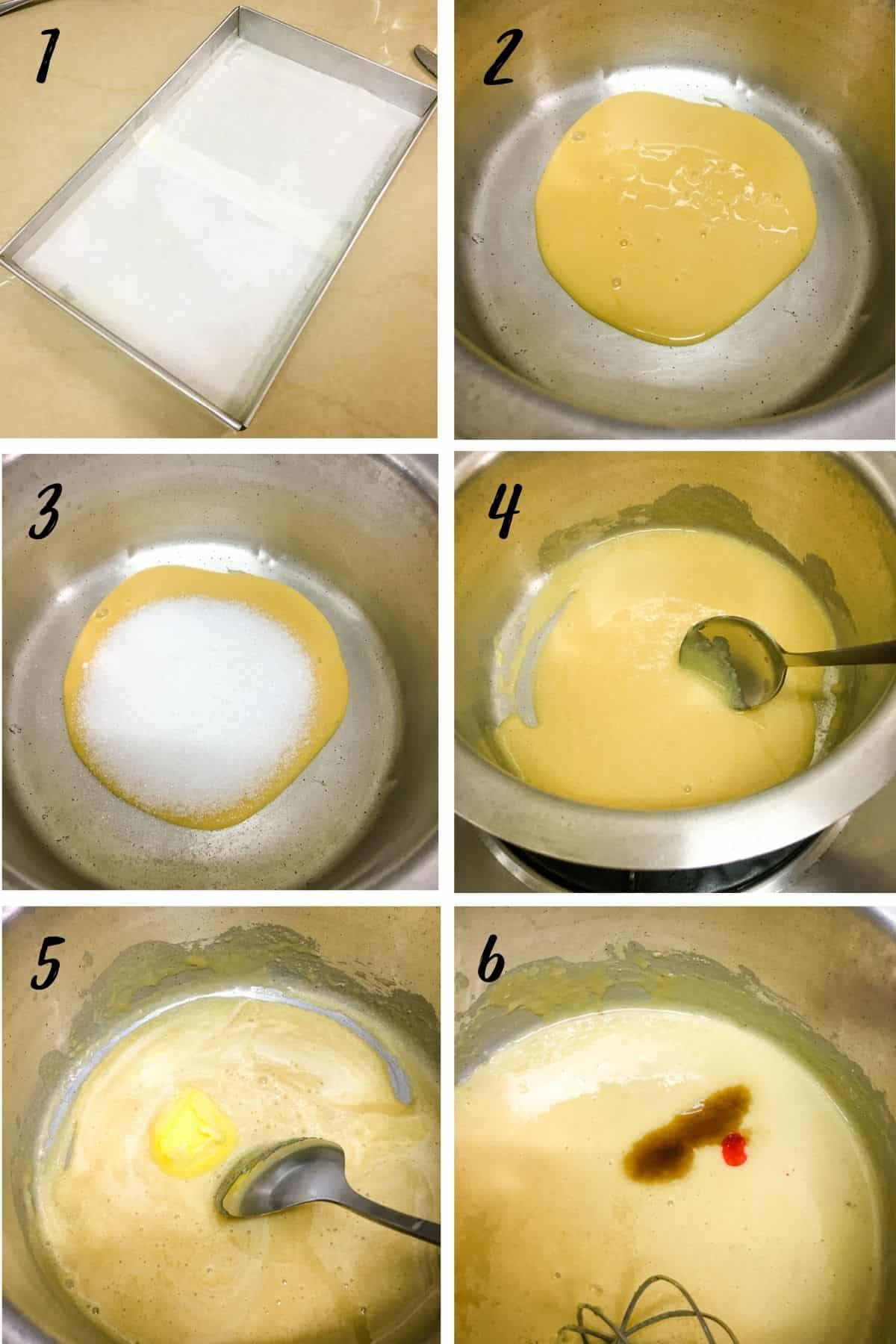A poster of 6 images showing a lined tray, condensed milk in a pot, sugar added to the pot, using a spoon to stir the contents in the pot, adding butter into it and adding vanilla and red food color to it.