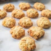 Cornflake cookies against a marble background