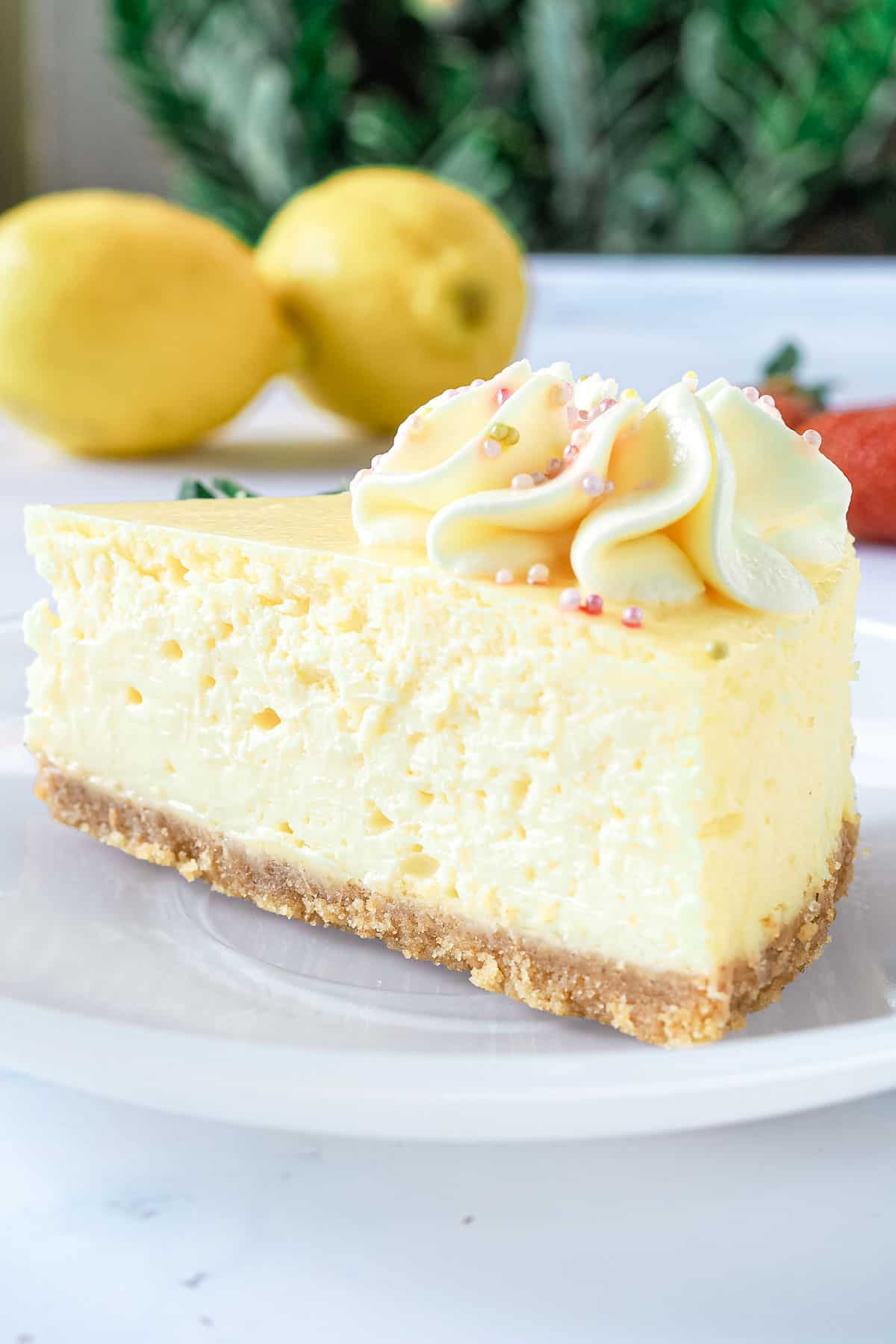 A slice of cheesecake on a white plate