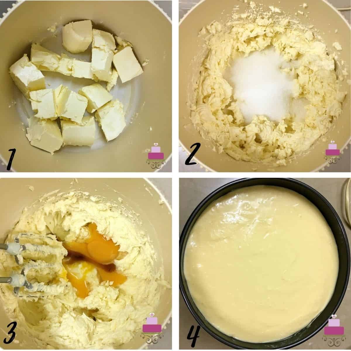 A poster of 4 images showing how to mix easy cheesecake batter