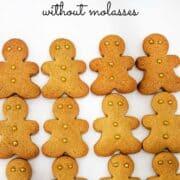 Gingerbread men cookies arranged in rows