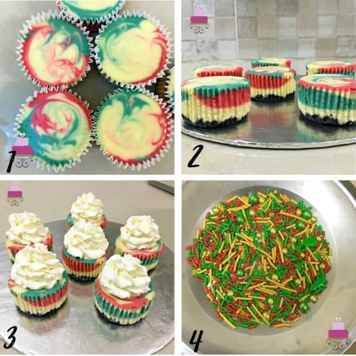A poster of 4 images showing, red and green marbled cheesecake cupcakes, the cupcakes with the wrappers removed, topped with whipped cream and pretty red, green and gold sprinkles.