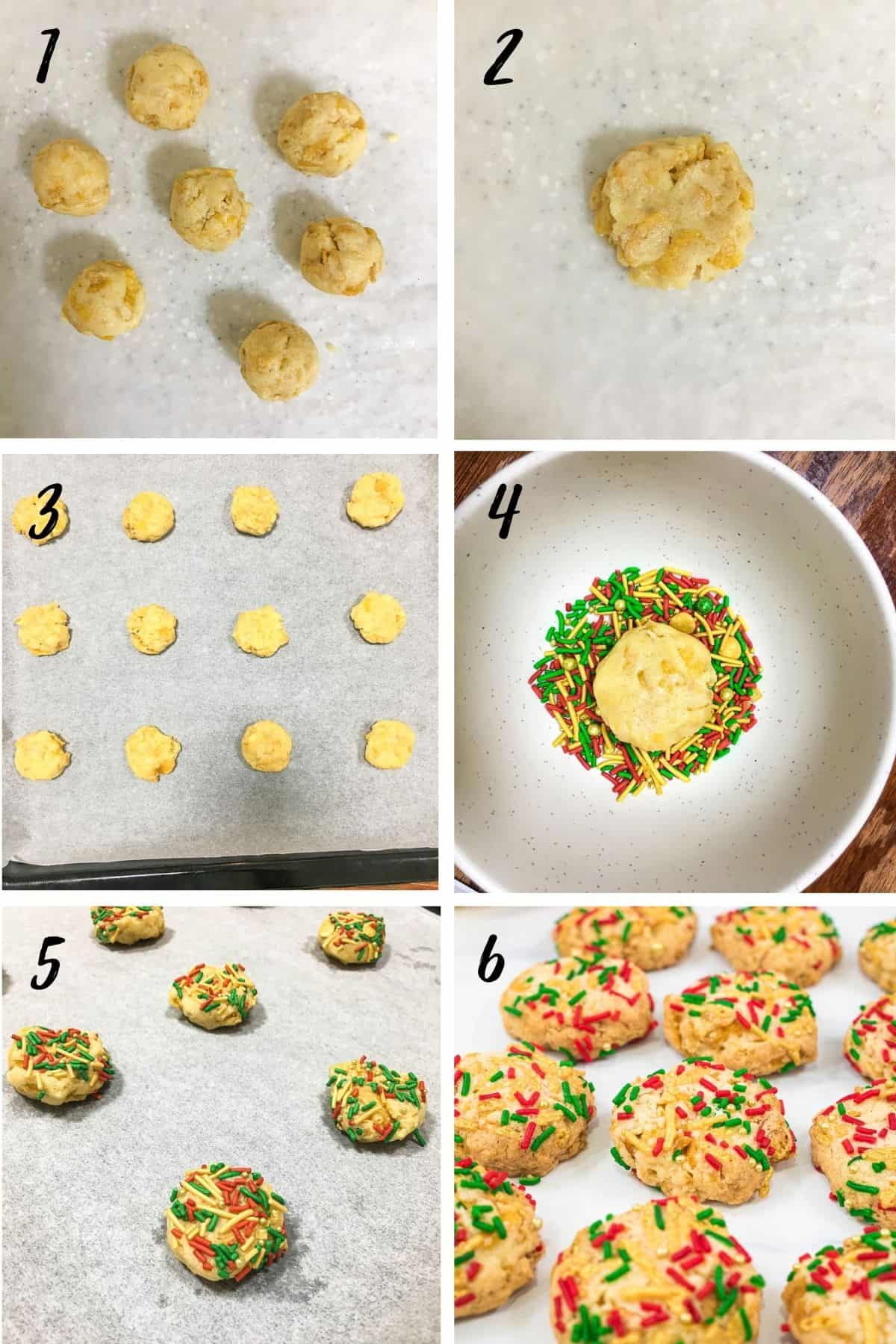 A poster of 6 images showing how to make Christmas sprinkle cookies
