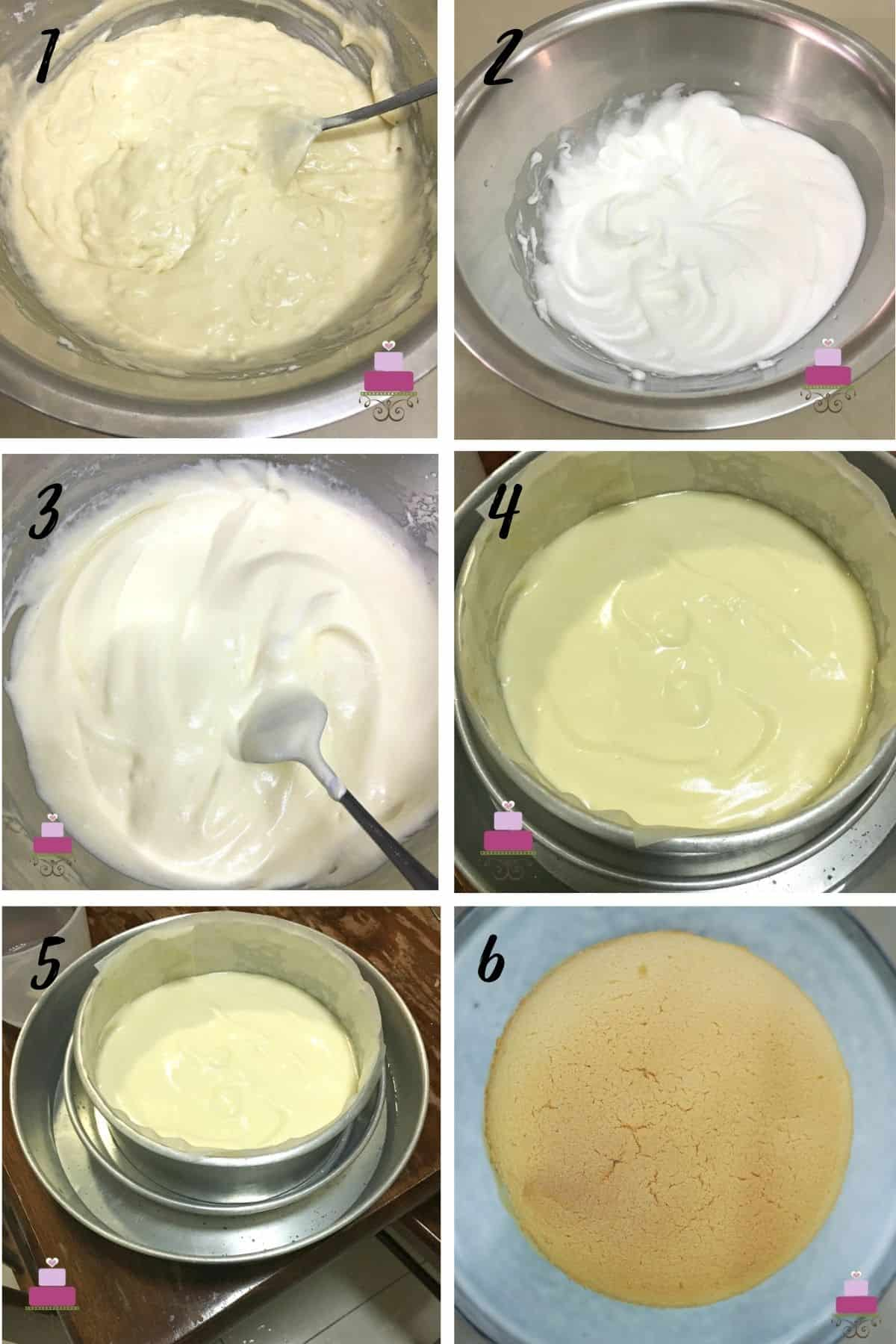 A poster of 6 images showing how to mix a Japanese cotton cake batter