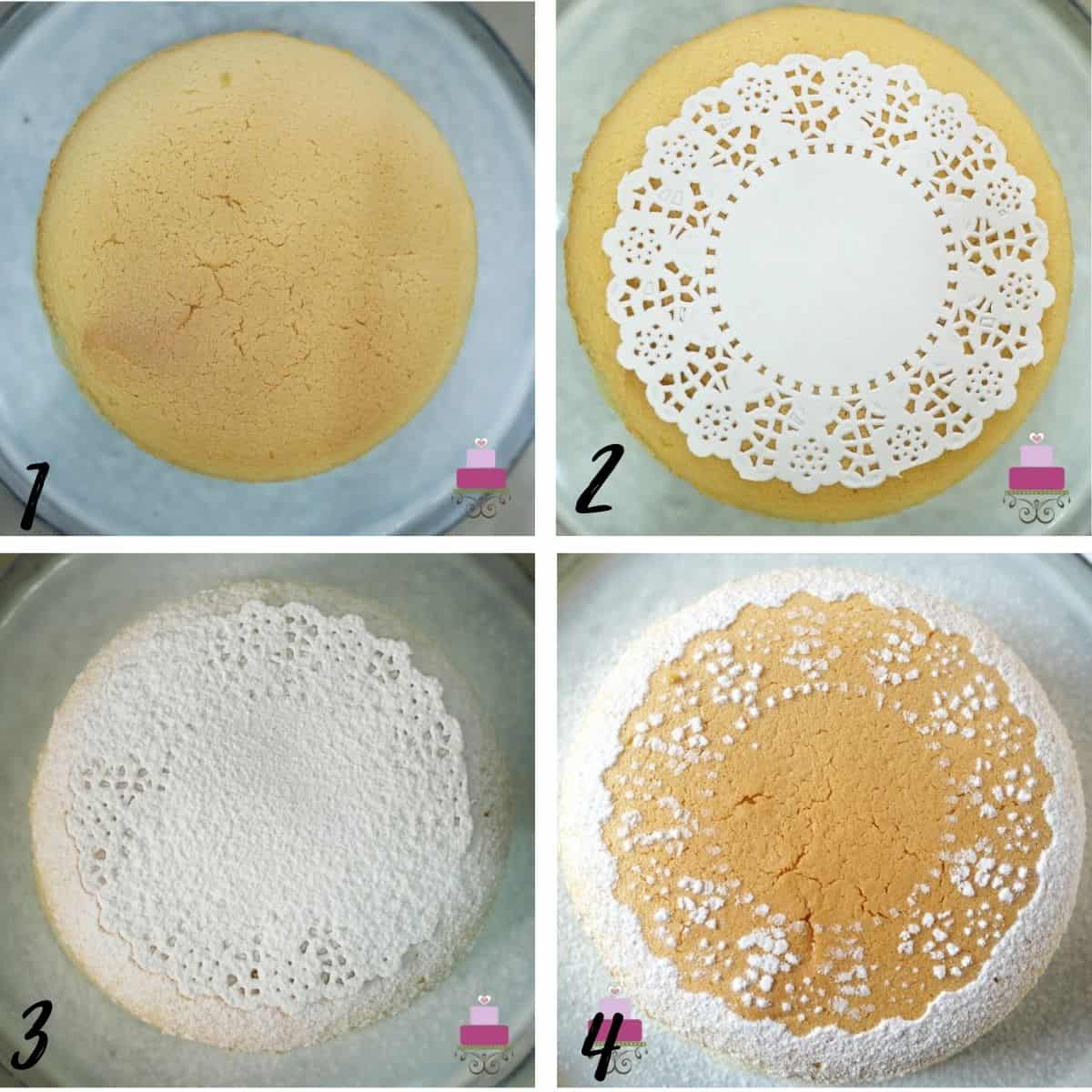 A poster of 4 images showing how to use a doily and icing sugar to decorate a cake