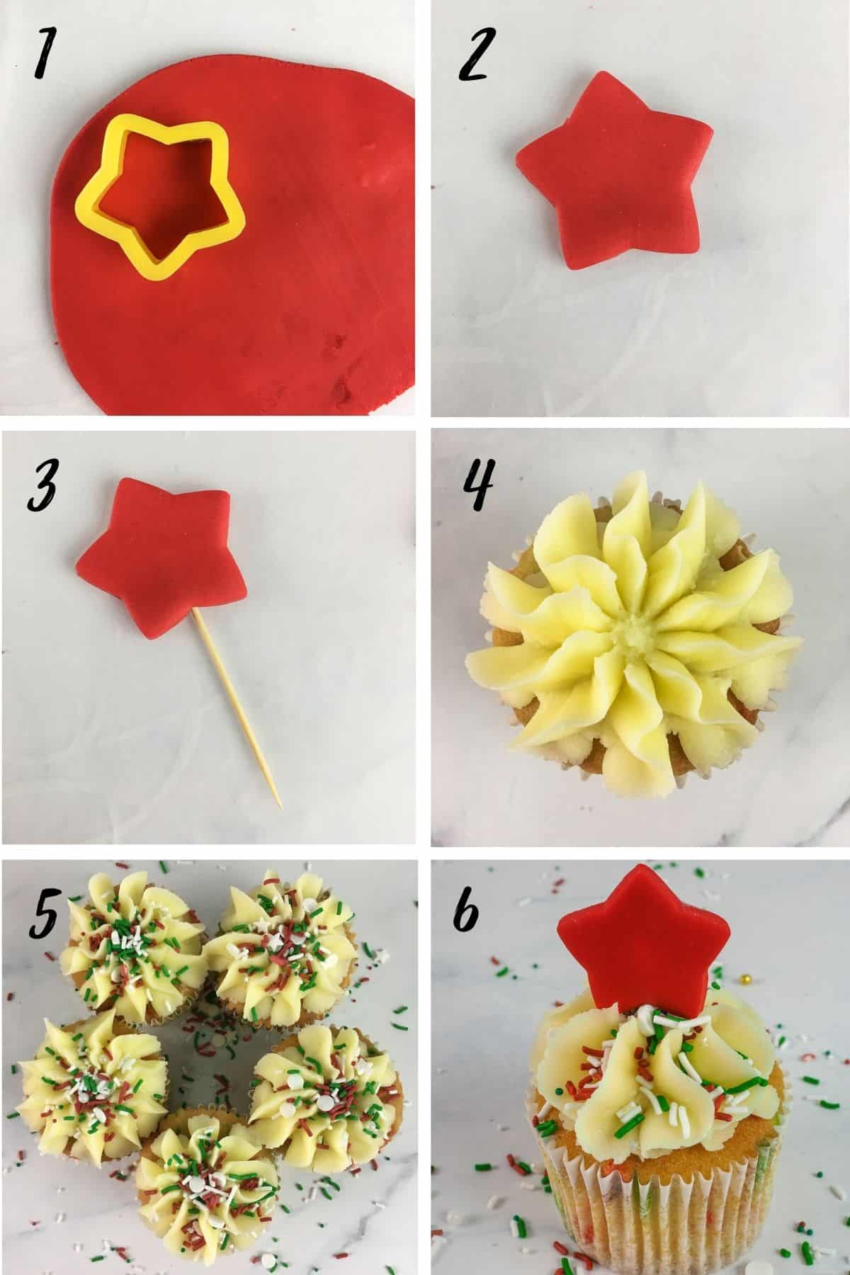 A poster of 6 images show how to make a red fondant star cupcake topper and how to decorate a cupcake with buttercream swirl and sprinkles