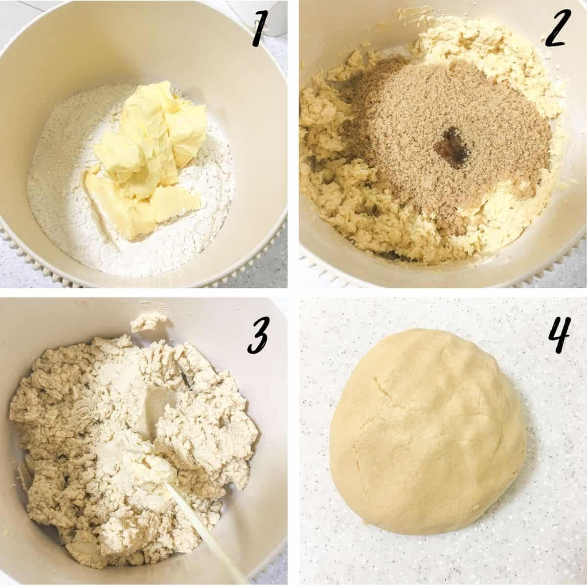 A poster of 4 images showing how to mix shortbread dough