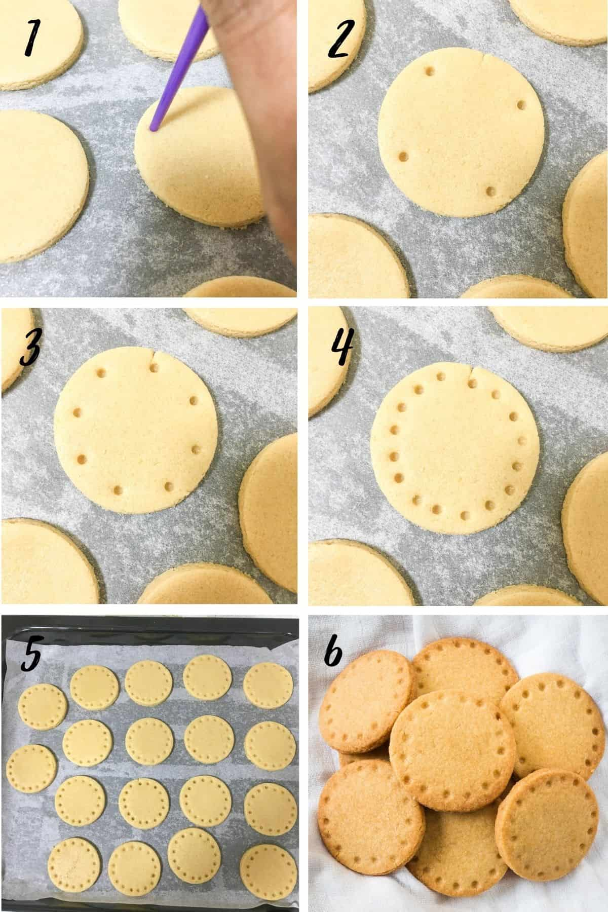A poster of 6 images showing how to make hole pattern on a round cookie