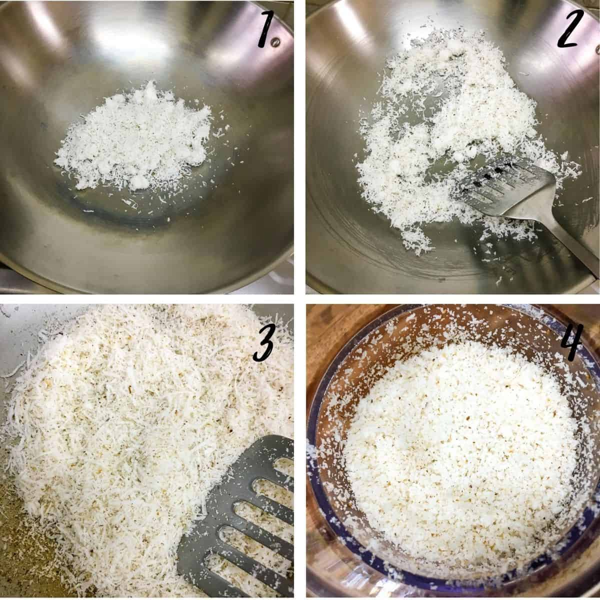 A poster of 4 images showing how to dry roast grated coconut and how to process it for fine grates of coconut