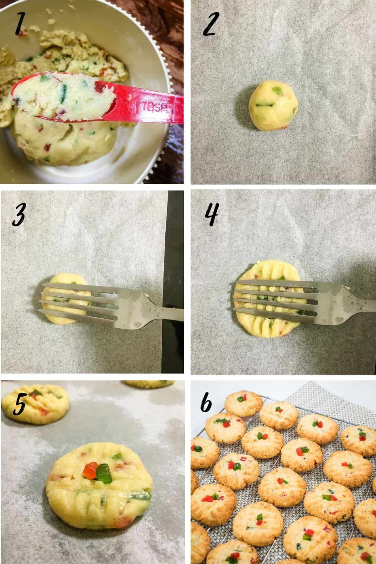A poster of 6 images showing how to use a fork to make design on the cookies, the cookies topped with glace cherries and a wire rack of baked cookies