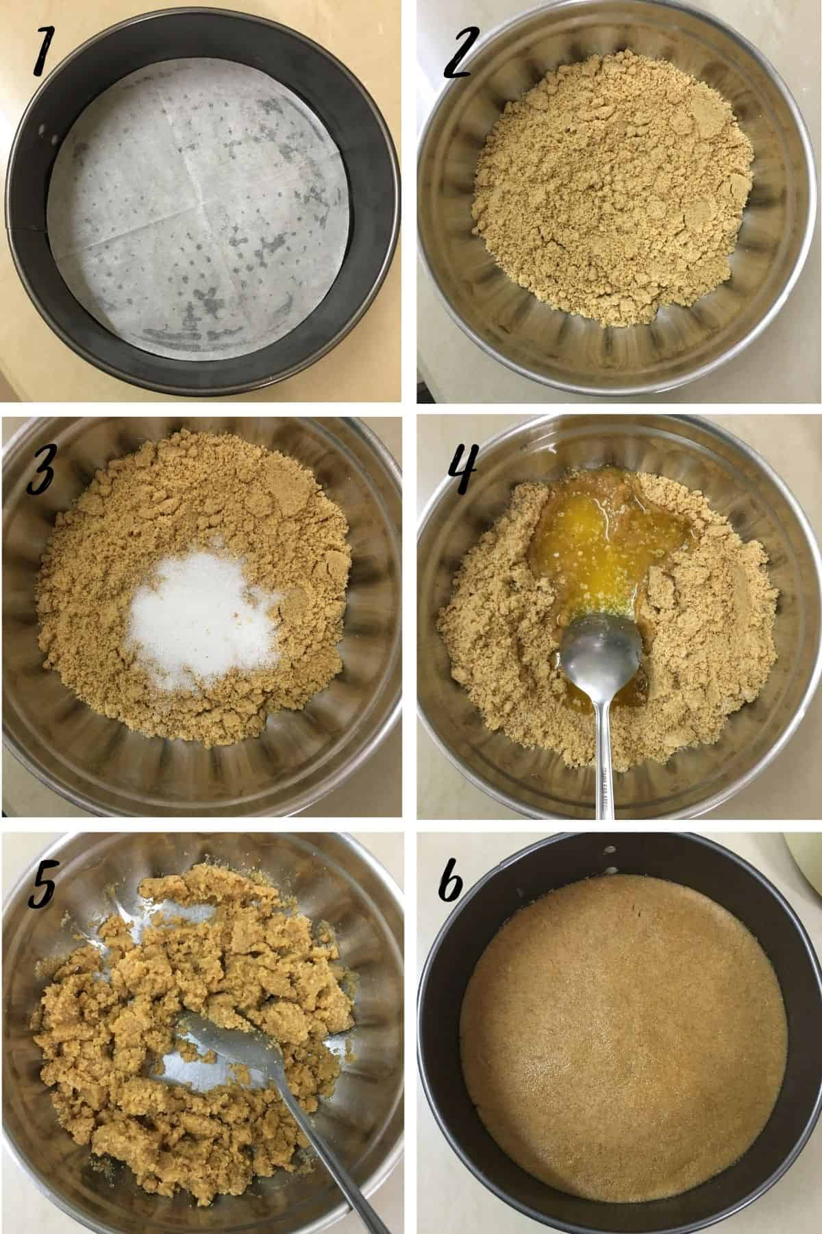 A poster of 6 images showing how to prepare cheesecake crust