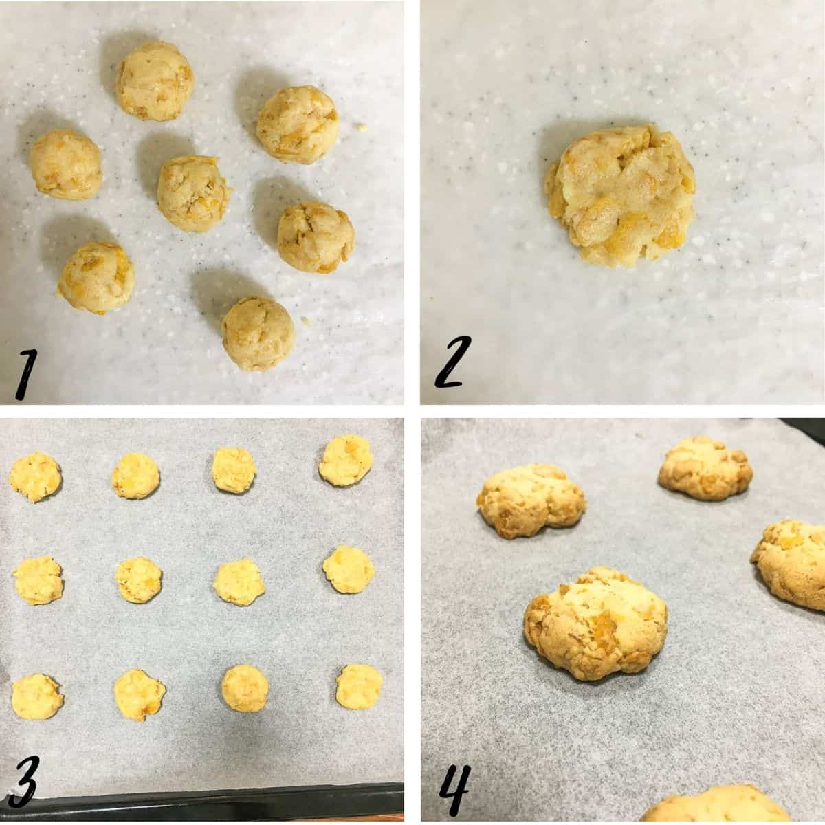 A poster of 4 images show how to shape and bake cookies