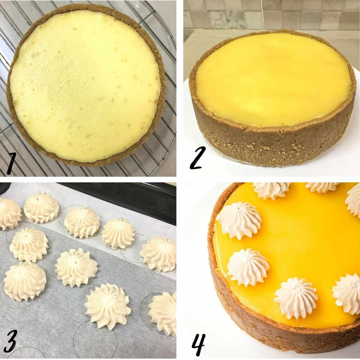 A poster of 4 images showing how to decorate a cheesecake with lemon curd and meringue cookies