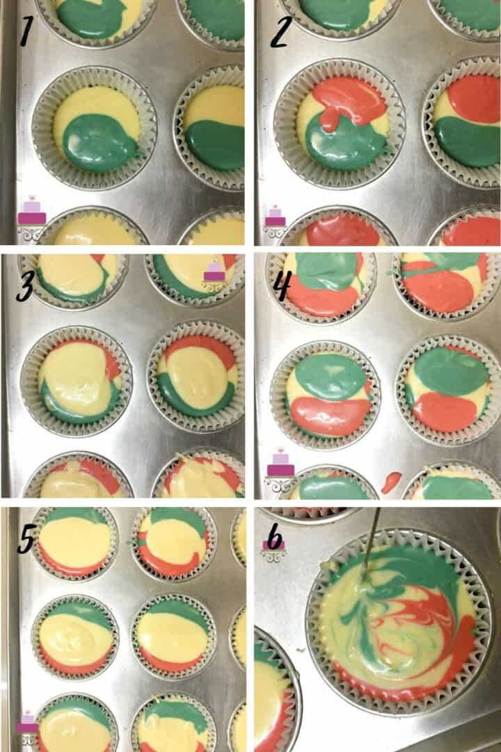 A poster of 6 images showing the step by step method of creating marbled cheesecake batter in yellow, red and green