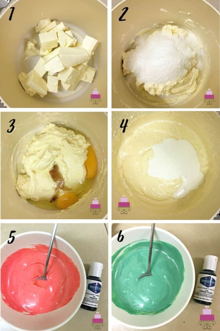A poster of 6 images showing how to mix cheesecake batter and color some of it into green and red.