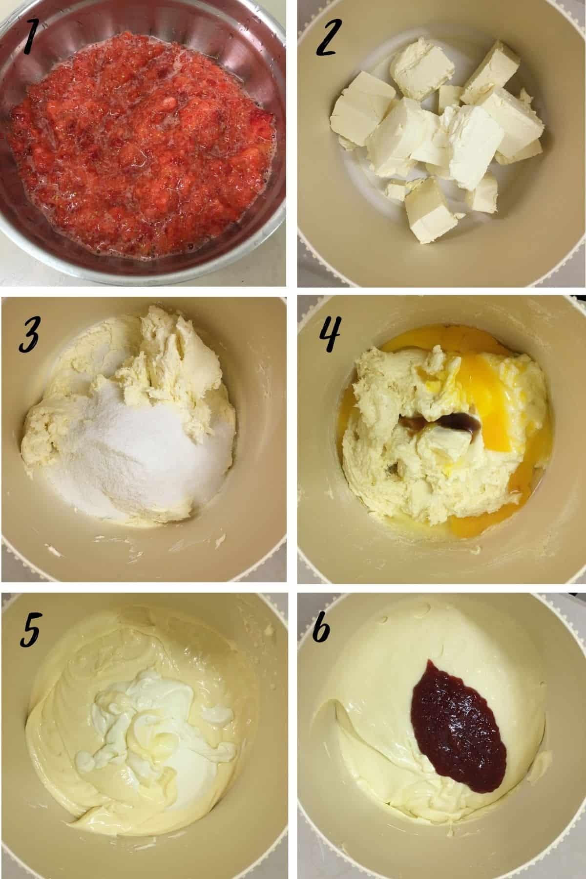 A poster of 6 images showing how to mix strawberry cheesecake batter