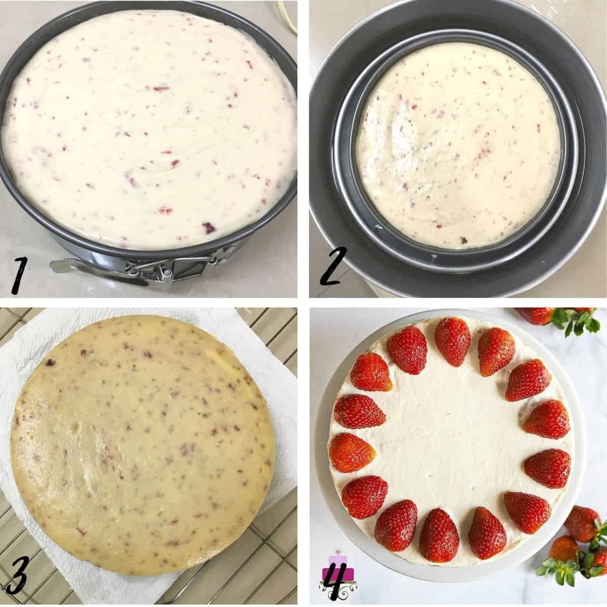 A poster of 4 images showing how to bake and decorate a strawberry cheesecake