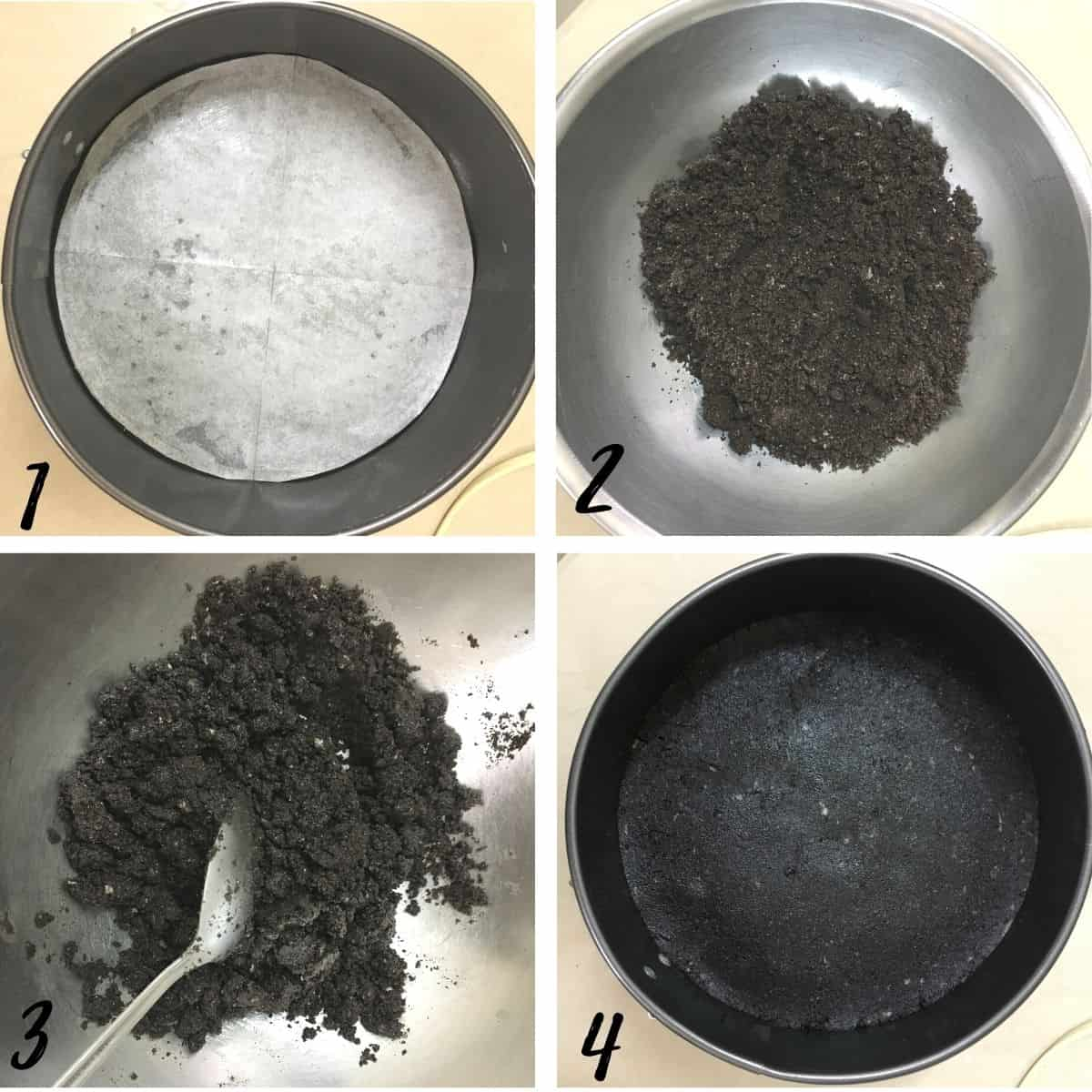 A poster of 4 images showing how to make Oreo cheesecake crust