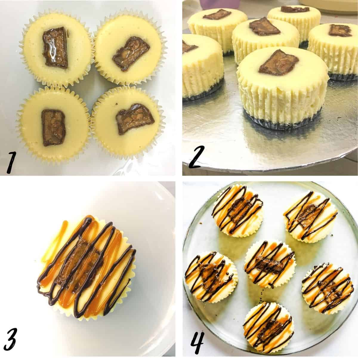 A poster of 4 images showing how to assemble mini Snickers cheesecake